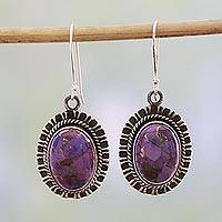 Sterling silver dangle earrings, 'Phenomenal Purple' - 925 Silver Hook Earrings with Purple Composite Turquoise