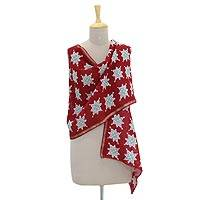 Cotton and silk blend batik shawl, 'Jade Stars' - Cotton and Silk Blend Shawl with Batik Jade Stars on Claret
