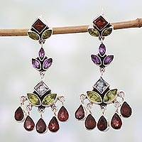 Multi-gem chandelier earrings, 'Classic Radiance' - Indian Multi Gemstone Silver Chandelier Earrings