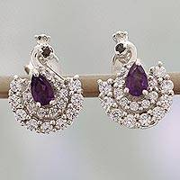 Amethyst and garnet drop earrings, 'Peacock Beauty' - Amethyst and Garnet Peacock Earrings from India