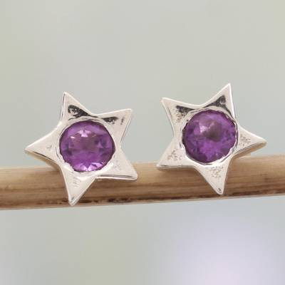 Amethyst stud earrings, 'Bright Star' - Star Shaped Amethyst and Sterling Silver Stud Earrings