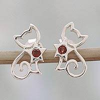 Garnet button earrings, 'Feline Delight' - Garnet and Sterling Silver Kitty Cat Button Earrings