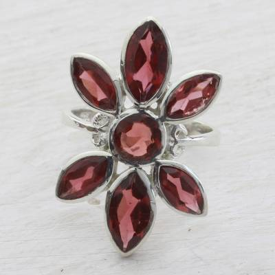 Garnet cocktail ring, 'Flowering Radiance' - Handcrafted Garnet and Sterling Silver Floral Cocktail Ring