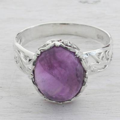 Amethyst and Sterling Silver Cocktail Ring from India