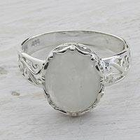 Rainbow moonstone cocktail ring, 'Pure Ecstasy' - Rainbow Moonstone and 925 Silver Indian Jali Cocktail Ring