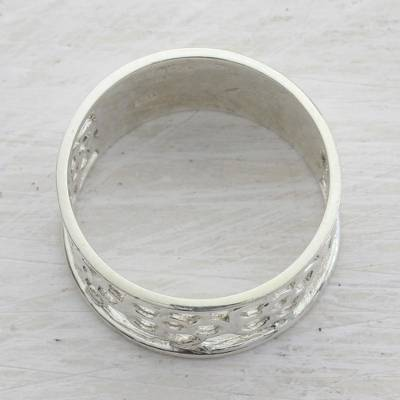 Sterling silver band ring, 'Band of Flowers' - Sterling Silver Floral Band Ring from India