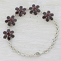 Garnet pendant bracelet,