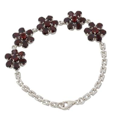 Garnet and Sterling Silver Link Chain Bracelet from India