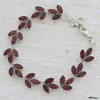 Garnet tennis bracelet, 'Autumn Air' - Garnet and Sterling Silver Tennis Bracelet from India