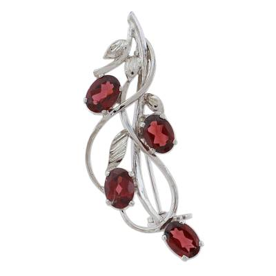 Garnet and Sterling Silver Leafy Brooch from India
