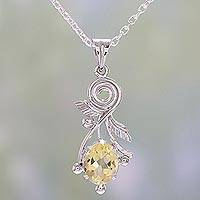 Citrine pendant necklace, 'Sunny Passion' - Citrine and Sterling Silver Pendant Necklace from India