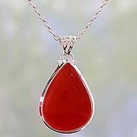 Carnelian pendant necklace, 'Drop of Sunshine' - Carnelian Drop of Sunshine Pendant on a 925 Silver Necklace
