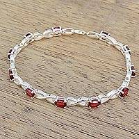 Garnet tennis bracelet, 'Beautiful Discretion' - 5.5 Carat Garnet and 925 Silver Tennis Bracelet from India