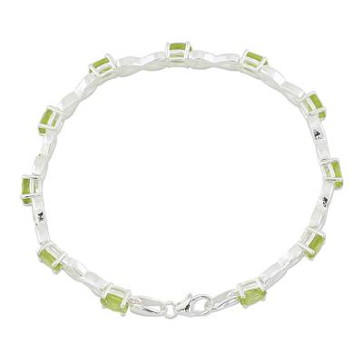 India 925 Silver Jewelry Peridot Tennis Bracelet 5.5 Cts