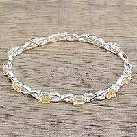 Citrine tennis bracelet, 'Beautiful Discretion' - India 925 Silver Jewelry Citrine Tennis Bracelet 5.5 Cts