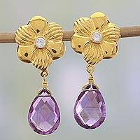 Gold plated amethyst floral dangle earrings, 'Violet Dewdrops' - Gold Plated Flower Earrings with Amethyst and Cubic Zirconia