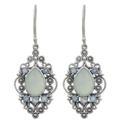 Vintage Style Earrings in 925 Silver Blue Topaz Chalcedony