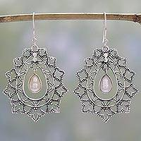 Cultured pearl dangle earrings, 'Ornate Drops' - Sterling Silver and Cultured Pearl Indian Dangle Earrings