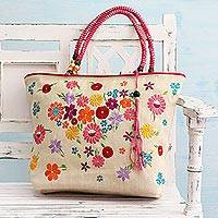 Embroidered jute blend tote bag, 'Spring Revelry' - Multicolor Floral Embroidered Cotton Jute Blend Tote Bag