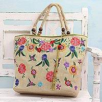 Jute blend tote bag, 'Perfumed Breeze' - Jute and Cotton Blend Floral Tote Bag from India