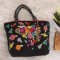 Jute blend tote bag, 'Spring Revelation' - Jute and Cotton Black Tote Bag with Flowers from India