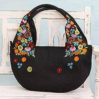 Jute blend hobo bag, 'Field of Flowers in Black' - Black Floral Jute Blend Hobo Bag from India