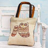 Jute blend tote bag, 'Everlasting Maternal Love' - Jute Blend Tote Bag with Mother and Child Owls from India