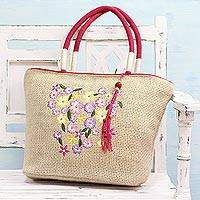Jute blend tote handbag, 'Morning Outing' - Jute Blend Tote Handbag with Floral Pattern from India