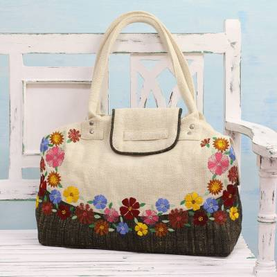 Jute blend shoulder bag, 'Spring Flowers' - Ivory Floral Jute Blend Shoulder Bag from India