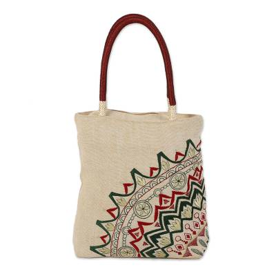 Floral Embroidered Jute Blend Tote in Alabaster from India