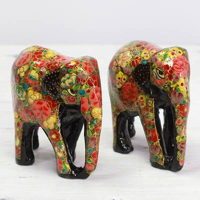 Wood and papier mache sculptures, 'Elephant Bloom' (pair) - Indian Wooden Sculpture Set of 2 Painted Floral Elephants