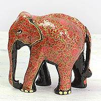 Wood and papier mache sculpture, 'Floral Charm' - Indian Wood Painted Papier Mache Floral Elephant Sculpture