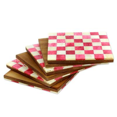 Bone coasters, 'Red Checkers' (set of 6) - Six Red and Ivory Checkerboard Bone Coasters from India