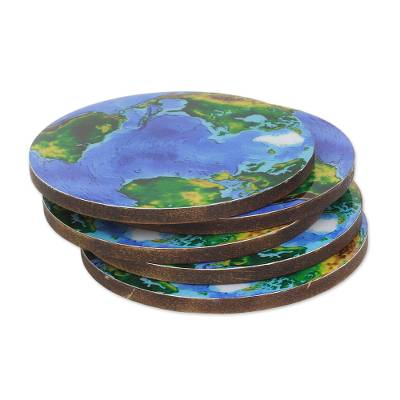 5 Round Laminated Wood Coasters of Earth from India