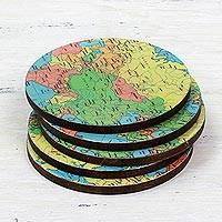 Wood coasters Round Map set of 5 India