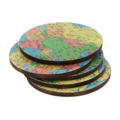 5 Round Laminated Wood Coasters of World Map from India