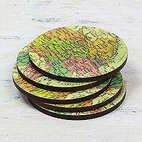 Wood coasters Countries of the World set of 5 India