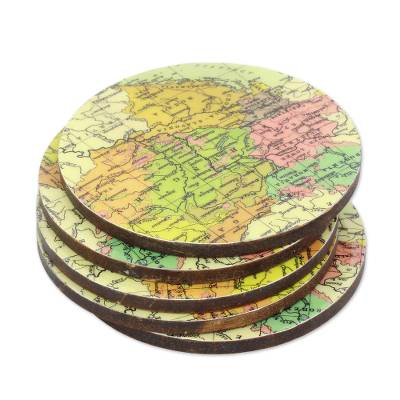 Round Laminated Wood Map Coasters (Set of 5) from India