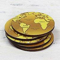 Wood coasters, 'Brown Cartography' (set of 5) - 5 Round Laminated Wood Coasters in Brown from India