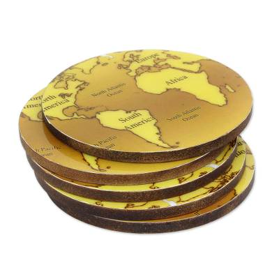 5 Round Laminated Wood Coasters in Brown from India
