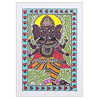 Madhubani painting, 'Abhanga' - Colorful Signed Madhubani Painting of Ganesha from India