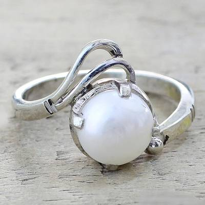 nice necklaces for her - Artisan Crafted Cultured Pearl Single Stone Ring from India