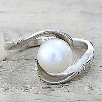 Cultured pearl single stone ring, 'Fantastic Swirl' - Hand Crafted Cultured Pearl Single Stone Ring from India