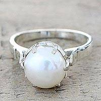 Cultured pearl solitaire ring, 'Glowing Globe' - Artisan Crafted Cultured Pearl Solitaire Ring from India
