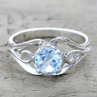 Blue topaz single stone ring, Blue Winds