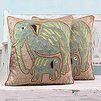Cotton cushion covers, 'Elephant Bonding' (pair) - Chain-Stitched Elephant Cushion Covers from India (Pair)