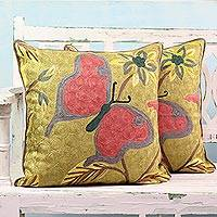 Embroidered cotton pillow covers, 'Joyful Butterfly' (pair) - Cotton Pillow Covers with Butterfly Embroidery (Pair)