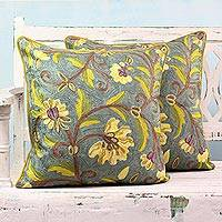 Cotton cushion covers, 'Yellow Indian Peony' (pair) - 2 Embroidered Chainstitch Green/Yellow Floral Cushion Covers