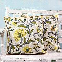 Cotton cushion covers, 'Indian Peony' (pair) - Yellow Chainstitch Embroidered Floral Cushion Covers (Pair)