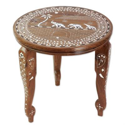 Wood accent table, 'Elephant Oasis' - Wood Accent Table with Elephant Inlay from India
